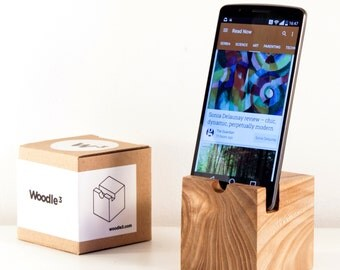 Handmade minimalistic wooden device cradle charger