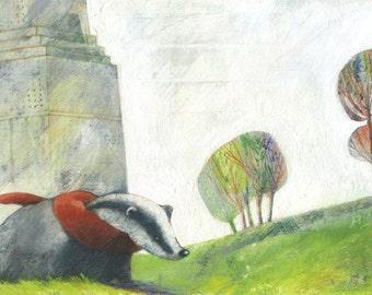print - badger