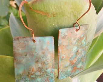 Recycled Copper Patina Earrings