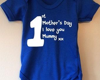 1st Mother's Day I love you mummy xxx- baby body/vest/bodysuit
