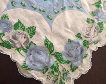 Vintage Handkerchief Hankie Something Blue