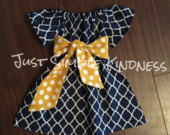 Girls Navy Dress Quatrefoil Flutter Sleeve with Yellow polka dot Belted Sash