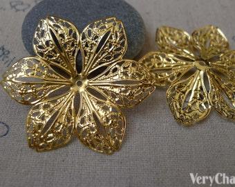20 pcs Gold Tone Filigree Huge Flower Embellishments 43mm A7497