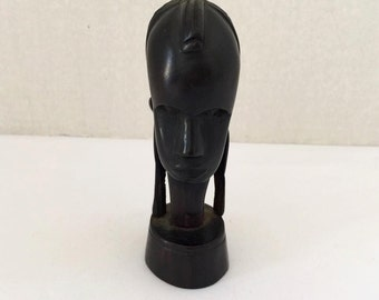 Vintage hand carved wooden head of Woman Made in Tanganyika