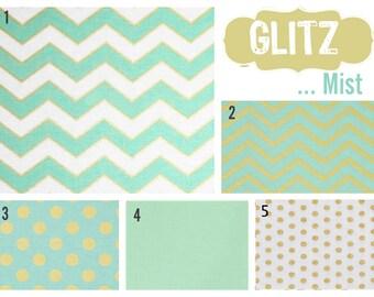 Custom Blanket, Skirt & Sheet Crib Bedding Set in Mist Glitz Fabrics