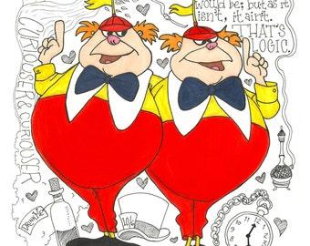 Disney-Tweedle Dee & Tweedle Dum Print (11x14) - FREE SHIPPING