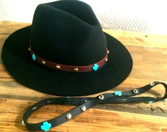 Western / South Western / Rocker / Native / Cow Boy / Cow Girl / Boho / Hippie / Gypsy Leather Hat Band w Turquoise Beads + Dome Studs