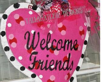 Valentine's Day Pink Heart Door Hanger -Valentine's Sign-Girls Pink Heart Wall Decor- Valentine Heart Burlap Door Hanger- Burlap Heart
