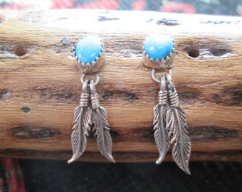 Turquoise and Sterling Feathers Dangle  Earrings