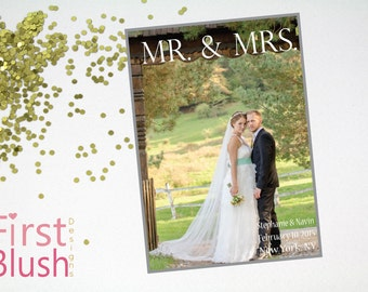 Modern Marriage Announcement - Digital Photo Wedding Mr and Mrs Thank You Card
