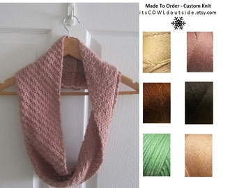Eco Friendly Scarf - Reversible Hand Knit Mini Infinity Scarf - Made To Order