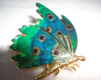 Green Blue Enamel Gold Tone Butterfly Brooch*****