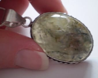 Prehnite (Natural) Sterling Silver Plated Necklace - 18 Inch