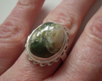 Rainforest Opal (Natural) Sterling Silver Plated Size 7.50 Ring