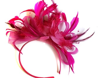 Fuchsia Hot Pink Wedding Fascinator Headband  Alice Band Ascot Races Loop Net