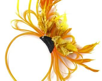 Orange & Gold Fascinator on Headband AliceBand UK Wedding Ascot Races Loop