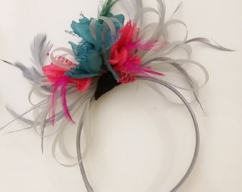 Grey Silver, Fuchsia & Teal Fascinator on Headband UK Wedding Ascot Races Loop