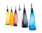 Oil / vinegar bottle - blown glass oil / vinegar cruets with a bump pattern - handmade