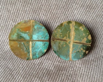Pair Of Vintage Hand Painted Metal Round Clip On Earrings From The 70's