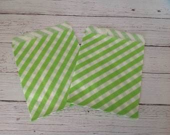 Lime stripe paper candy/favor bags, 25