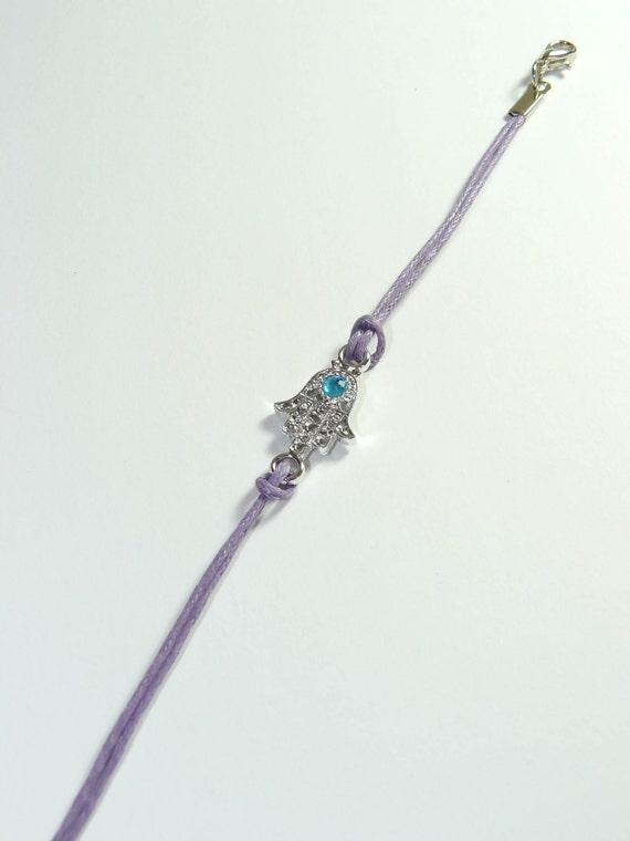 Jewish kabbalah hamsa light purple string silver tone bracelet for Elder wand replica