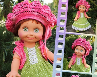 PDF Doll Pattern Crochet  Beret and Bolero for Galoob Baby Face dolls By Kasatka dolls fashion