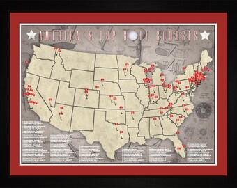 PGA Pro Golfer Top US Golf Courses Tracking Location Golfing Map | Print Gift Wall Art TGOLF1824