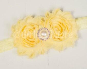Soft Yellow Girls Headband, light yellow baby girl headband,yellow toddler headband, soft yellow wedding Headband-Shabby Chic Baby Headband