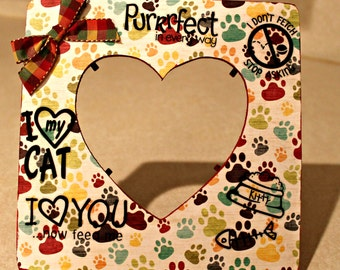 Cat /I Heart My Cat/Feline/ Pet Picture frame