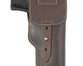New Brown Leather Flap Gun Holster for Full Size 9mm .40 .45 Pistols (202FBR)