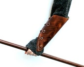 Left Arm Elven Single Leather Bracer, Beautiful Horween Leather