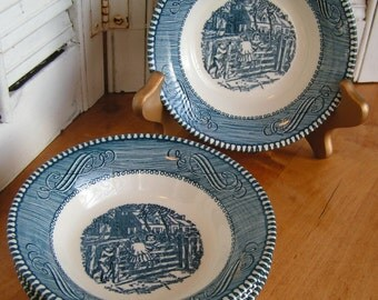 "4 Vintage Currier and Ives Fruit Bowls by Royal China ""Old Farm Gate"" Blue Transferware Ironstone"