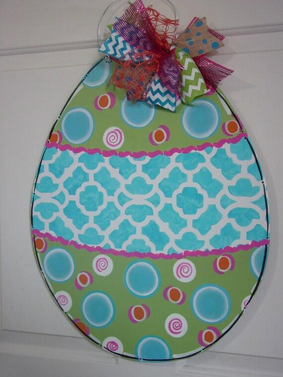 Large Easter Egg Door Hanger Happy Easter Blessings Blue Pink
