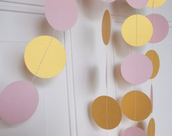 Gold & Blush Pink Garland, Party Paper Circle Garland,  Party Decoration, 12 FT., Ships in 2-4 Business Days
