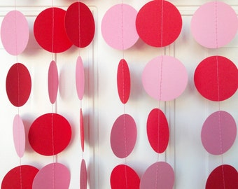 Party Garland, Red & Pink Circle Garland, Party Decoration, Birthday Party, Valentine's Day, Decoration, 12'