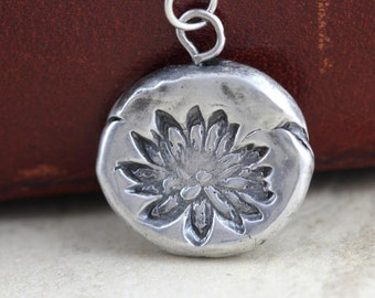 Lotus Necklace Fine Silver Necklace Flower Pendant Sterling Silver Chain Yoga Jewelry Botanical Jewelry