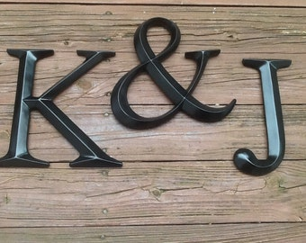 You Choose Letters And Color / Large Wall Letter and Ampersand / Set of 3 Monogram Letters Wall Decor
