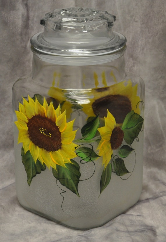 hand painted sunflowers kitchen canister by tuscan sunflower kitchen canisters sunflower pinterest