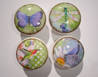 Set of 8 Vintage Butterfly Dragonfly Hummingbird Dresser Drawer Cabinet Knobs