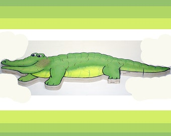 Hand Painted Alligator Wooden 3D Jigsaw Puzzle