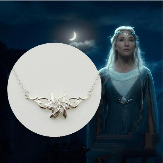 "Silver Plated Extra Dimentional Lord of the Rings Galadriel Pendant Handcraft Replica with 20"" silver plated chain"