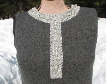 Nelly de Grab Dress - Vintage Wool Dress - 1950s Sleevless Dress - Brocade Dress