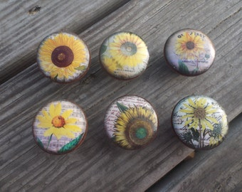 "Sunflower Print 1.5""  Dresser Drawer Knob"