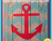 Wood Anchor Sign, Beach House Art, Beach House,Nautical Sign,Personalized Anchor,Chevron Anchor Art, Personalized Beach,Anchor, Heart Anchor