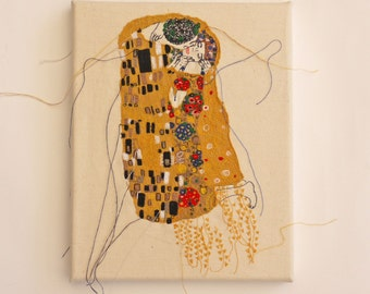 The Kiss: Machine Embroidered Canvas, Gustav Klimt, Wall Art, Home Decor, Gift Idea