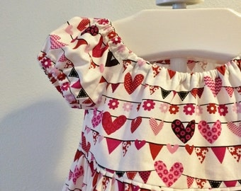 Todder Valentine's Day Dress, Girls Valentine's Day Dress, Baby Valentine's Day Peasant Dress, Hearts/Bunting Valentines Day Dress, Sz 2T-8