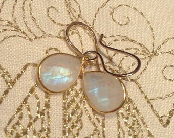 Rainbow Moonstone Earrings/ Genuine Moonstone Gemstone Bridal, Wedding Earrings / Minimalist Rainbow Moonstone 14KT Bridal Earrings