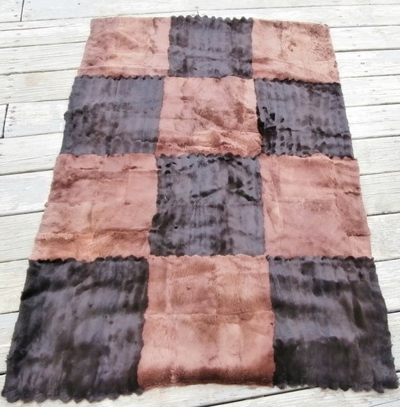 Brown Sheared Beaver Fur Rug Blanket Throw Real By