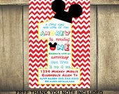 PERSONALIZED printable invitation - DIY Mickey invites - Mickey invitation - Mickey mouse 1st birthday - Mickey party - Mickey mouse invites