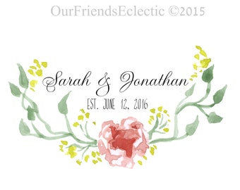 digital Wedding monogram, digital logo, printable wedding logo, premade wedding logo, premade wedding monogram, floral monogram